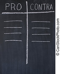 Pro and contra list drawn on a blackboard
