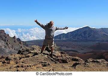 Man on Top of Haleakala Volcano