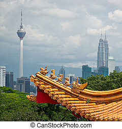 Kuala Lumpur cityscape - Mixture of architectural styles in...