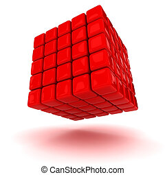Red cube - Big red cube made from small blocks