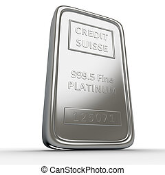Platinum - Single platinum ingot on white background