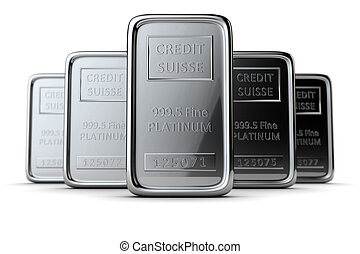 Platinum bars - The group of ingots are on the white. DOF