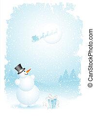 Snowman and santa - Happy snowman and santa