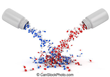 Mix of red and blue capsules - Mix of red and blue pills...