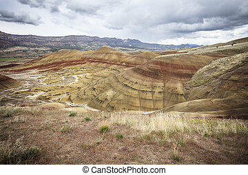 The Painted Hills of Oregon State - A panoramic view of the...
