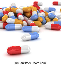Heap of pills - Heap of multicolored pills on the white...