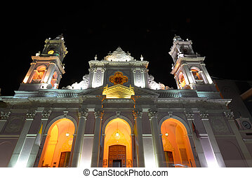 Salta in Argentina - Cathedral of Salta at night