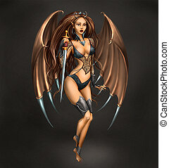 Succubus Girl with sord on dark background Illustration