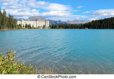 Lake Louise and Bulwark Peak - Lake Louise in front of...