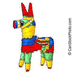Pinata - Colorful Pinata Isolated Illustration on white...