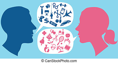 How men and women communicate - Male and female profile with...