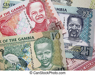 money of Gambia - Photo elements Gambia banknotes of 5, 10,...