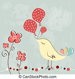 Little bird with balloon - Wonderful greeting birthday card...
