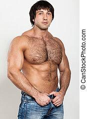 muscular, joven, hombre, desnudo, Torso