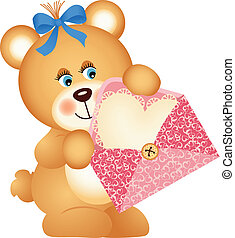 Teddy bear with envelope and heart - Scalable vectorial...