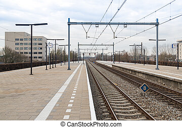 Platform railway station of Dutch city Almere