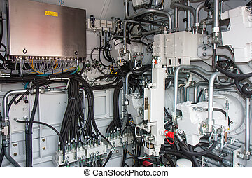 Engine room with pneumatic systems