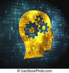 Marketing concept: Head With Gears on digital background -...