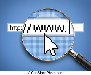 WWW Search Magnifying Glass - Internet Browser Search Bar...