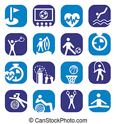color fitness icons set - Elegant Colorful Fitness Icons Set...