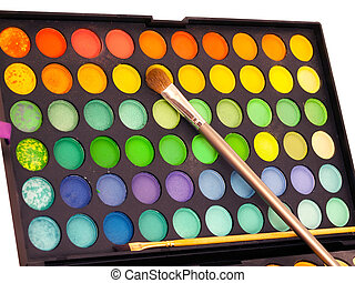 Makeup brush and make-up eye shadows palette