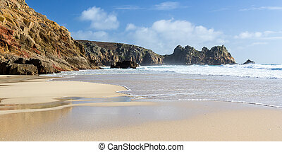 Porthcurno Cornwall - The beautiful golden sandy beach at...