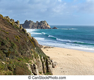 Porthcurno Cornwall - Overlooking the beautiful golden sandy...