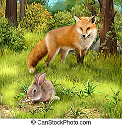 Fox cab. Two baby foxes playing on grass. Illustration on...