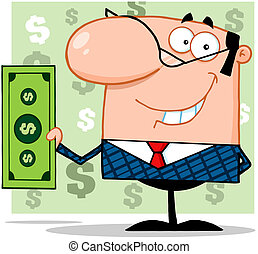 Business Man Holding A Dollar Bill - Smiling Business Man...