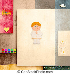 holy communion invitation cute blonde boy and blank space...
