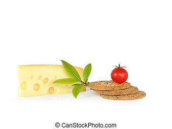 Cheese and Biscuits Snack Food - Dutch cheese slice with...