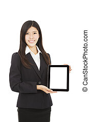 beautiful Asian Businesswoman with tablet pc