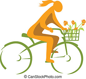 Girl on a bicycle with a basket of flowers, green city...