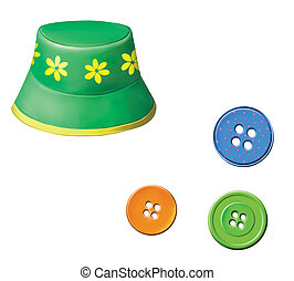 Green baby Panama hat with flowers. Colorful buttons....