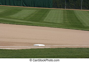 First Base - First base in a baseball field in London,...