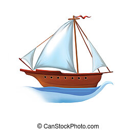 Sailing boat with white sails Isolated realistic...