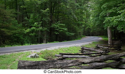 Beautiful Mountain Road - A pickup truck driving on a scenic...