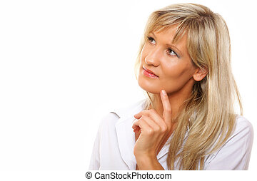 Lovely mature woman looking away in thought - Thinking...