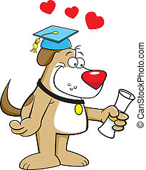 Cartoon illustration of a dog with