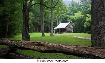 Family Visiting Historic Cabin - A family walking up a trail...