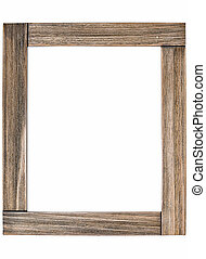 Rustic wooden photo frame - isolated on white background