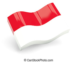 3d flag of indonesia isolated on white
