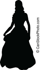 Princess Silhouette - Black silhouette of a princess in a...