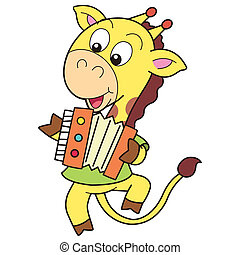 Cartoon Giraffe Playing an Accordion