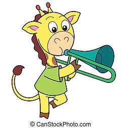 Cartoon Giraffe Playing a Trombone - Cartoon giraffe playing...