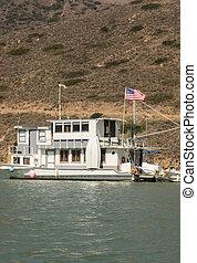 Moored Houseboat at Catalina Harbor
