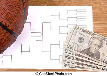 March Madness Basketball Bracket and Fanned Money - A...