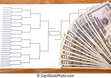 March Madness Bracket and Fanned Money on Right - Blank...