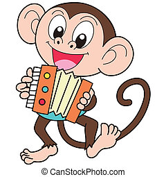 Cartoon Monkey Playing an Accordion - Cartoon monkey playing...