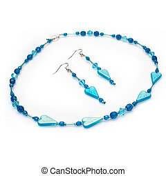 Handmade Blue Beaded Jewelry Set - Handmade beaded necklace...